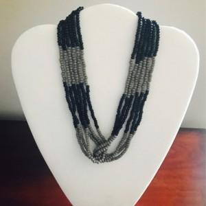 Black & Gray Czech Beades, Glass Beaded Necklace