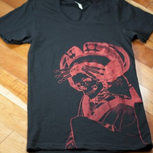 Japanese Skeleton Oiran Summer T-Shirt, Black, Screen Printed, Folklore, Loose Crew, Gifts for Him or Her, Made in USA, Last One