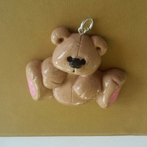 Teddy Bear Polymer Clay Charm, Teddy Bear Zipper Pull, Polar Bear Zipper Pull, Spirit Bear Charm