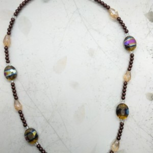Iridescent Jeweled Necklace, Rainbow Beaded Necklace, Crystal style Necklace by Cumulus Luci