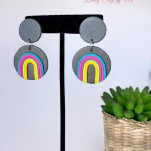 Rainbow Earrings,Polymer Clay Earrings, handmade Earrings, Unique Earrings, Statement earrings, Gift for her, Rainbow shape, Rainbow dangle