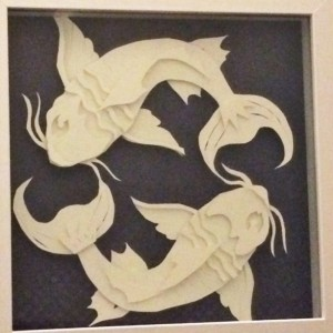 Koi Papercut Art Shadowbox