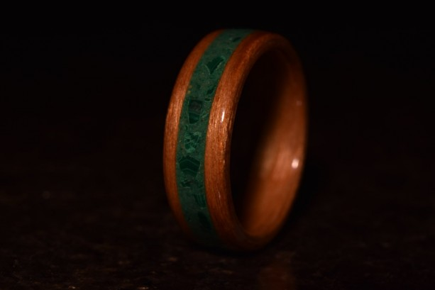 Hand Made ( Bentwood Method ) Real Malachite Inlayed Cherry Wooden Ring
