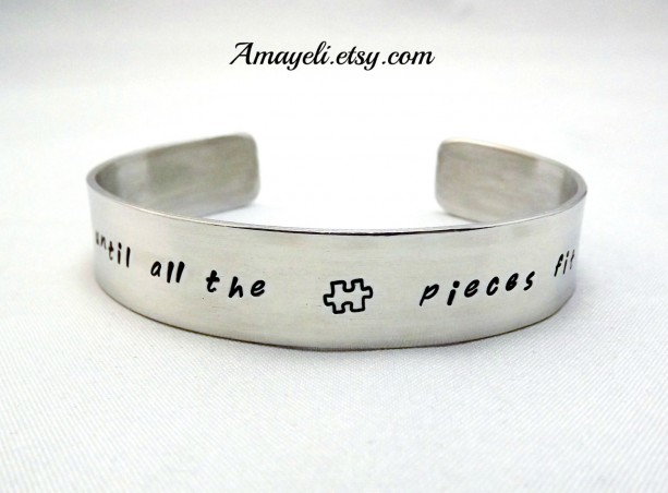 Autism awareness jewelry, silver aluminum cuff bracelet, puzzle piece jewelry, custom jewelry, name bracelet, engraved bracelet, han stamped