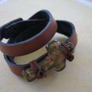 Leather Wrap Cross Bracelet