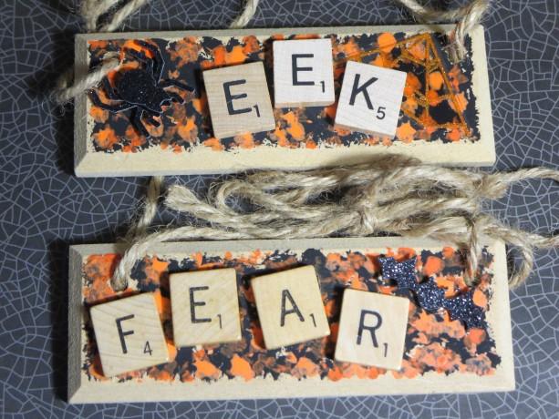 Set of 2 Scrabble® Game Tile Wooden Plaques Eek & Fear
