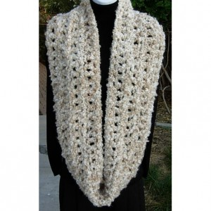 Oversized INFINITY SCARF Loop Cowl Off White, Cream, Beige Large Thick Bulky Wide Soft Winter Handmade Crochet Knit..Ready to Ship in 3 Days