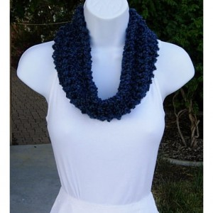 SUMMER COWL SCARF, Solid Dark Blue, Navy, Small Short Infinity Loop Crochet Knit Soft Handmade Lightweight Neck Warmer, Ready to Ship in 2 Days