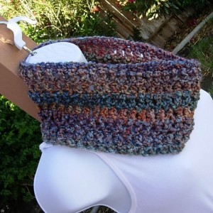 Small SUMMER COWL SCARF Gold Rust Orange Red Blue Green Teal Small Short Infinity Loop Soft Crochet Knit, Striped Neck Warmer, Ready to Ship in 3 Days