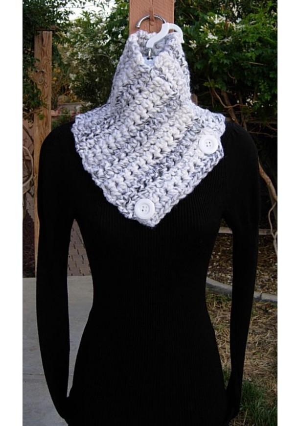 White Gray And Black Striped Crochet Neck Warmer Scarf