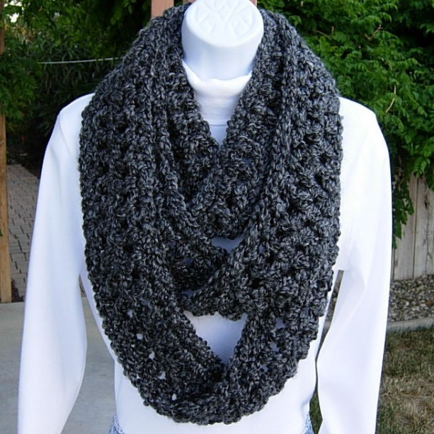 Extra Long INFINITY SCARF Loop Cowl Winter Skinny, Black Dark Gray Grey Charcoal, Soft Bulky Circle, Neck Warmer..Ready to Ship in 3 Days