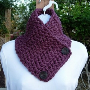 NECK WARMER SCARF, Buttoned Cowl, Fig Purple, Solid Plum Soft Wool Acrylic Blend, Wood Buttons, Crochet Knit Winter..Ready to Ship in 3 Days