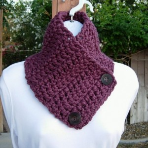 NECK WARMER SCARF, Buttoned Cowl, Fig Purple, Solid Plum Soft Wool Acrylic Blend, Wood Buttons, Crochet Knit Winter..Ready to Ship in 2 Days