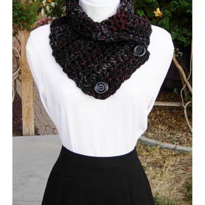 NECK WARMER SCARF, Chunky Crochet Cowl, Thick Buttoned Cowl, Black Red Light Gray Grey Striped Wool Blend, Buttons..Ready to Ship in 2 Days