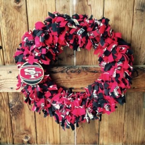 San Francisco 49er Wreath, Home Decor, Football Season