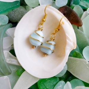 Blue milk sea glass earrings, pale blue milk glass earrings, blue milk glass jewelry, English milk glass, blue sea glass earrings, sea glass