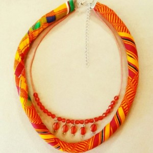 Tribal Kente Fabric Double Strand Necklace, Traditional African Print Beaded Kente Necklace, Kente Necklace, Ankara Necklace, Kente Jewelry