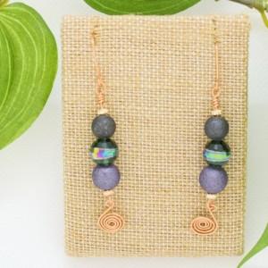 Disco Earrings, Green, Purple and Blue Glass