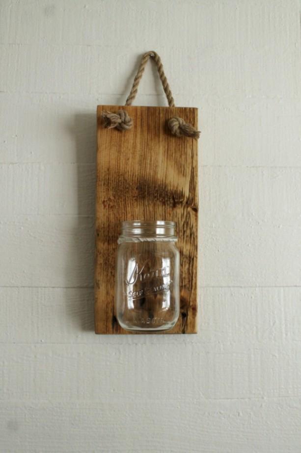 Mason Jar Decor   Rustic Wall Decor   Jar Candleholder   Mason Jar Storage   Beach House Decor   Cabin Decor   Cottage Decor