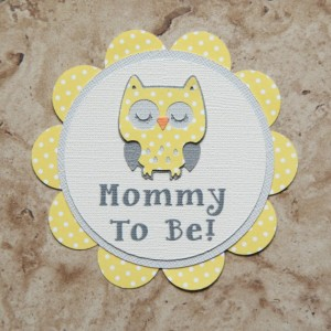 Owl Polka Dot Name Tag Button Pin- (Quantity 4)
