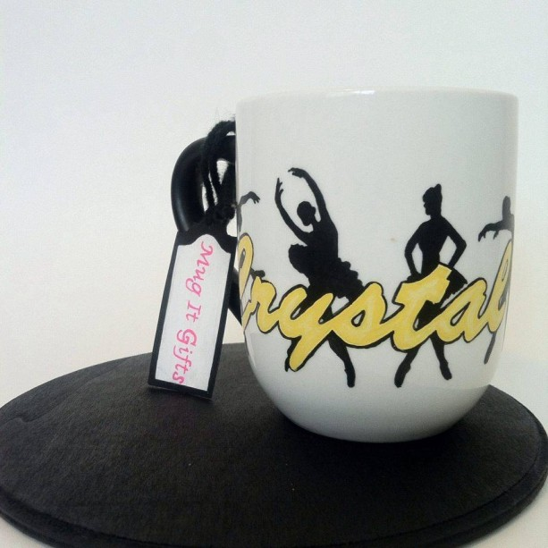 Ballerina Dancer Name Personalized  12 oz Hand Painted Coffee Tea Mug Cup