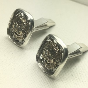 10k Gold  Diamond Lion head sterling silver cufflinks