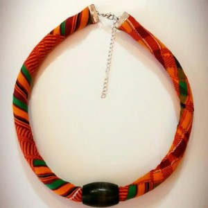 Traditional Kente African Print Beaded Necklace, Single Strand Tribal Kente Necklace, Ethnic Kente Rope Neckace, Ankara Necklace, Kente