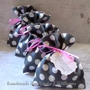 (4) Reusable Fabric Jewelry / Gift Bags & Tags
