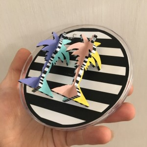 Palm Tree Earrings Memphis Group 80s Inspired Hand Painted