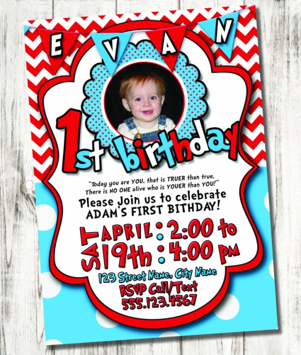 Seuss Inspired Birthday Party Invitation