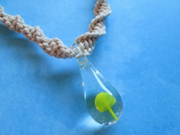 Handmade Natural Hemp Twist Necklace with Awesome Hand Blown Glass Yellow Mushroom Pendant- Custom Hemp Necklace