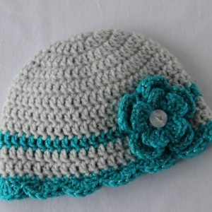 0-3 month Baby Girl Crochet Hat Beanie Gray and Turquoise