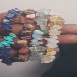 Lot  Of 4 Gemstone Chip Bracelets