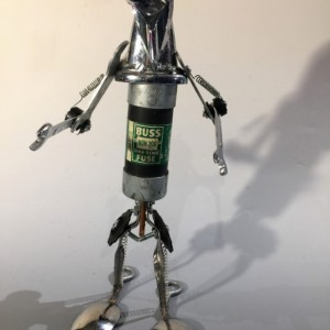MISTER BUSTER FUSE ASSEMBLAGE ROBOT SCULPTURE BY JEFFERY WEATHERFORD
