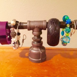 Black Pipe Mini Jewelry Stand, Bracelet Stand, Watch Stand- Unique Steampunk Design, Holds Braclets, Watches, & Earrings handmade In the USA