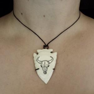 Ethical Scrimshaw Buffalo Skull Bone Pendant