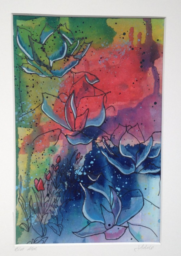 Abstract Watercolor Painting With Aloe And Tulips Aftcra