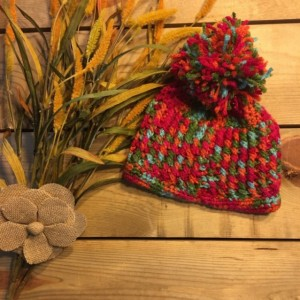 Handmade crochet multicolored beanie with Pom Pom