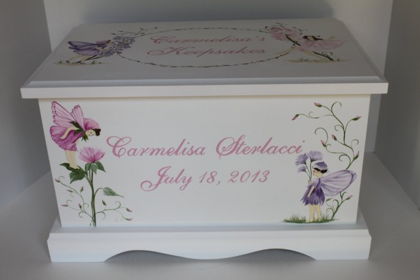 Fairies and Wildflowers Baby Keepsake Box Chest personalized baby gift