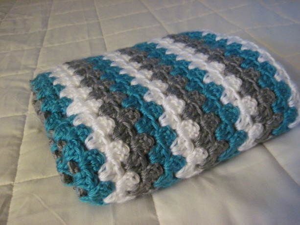 Blue Mint, Grey, and White Granny Stripe Baby Afghan