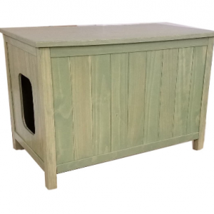 Large, Odor Free, Custom, Hand Made in USA, Wood Cat Litter Box Chest. No Assembly Needed. Not MDF