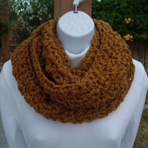 INFINITY SCARF Cowl Loop Dark Gold Honey Brown Solid Caramel Soft 100% Acrylic Crochet Knit Winter, Neck Warmer..Ready to Ship in 3 Days
