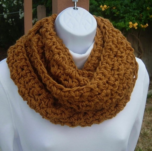 INFINITY SCARF Cowl Loop Dark Gold Honey Brown Solid Caramel Soft 100% Acrylic Crochet Knit Winter, Neck Warmer..Ready to Ship in 5 Days