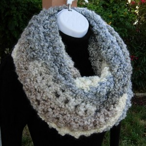 INFINITY SCARF Loop Cowl Light Grey Gray Cream White Tan Blue Large Thick Bulky Chunky Winter Handmade Crochet Knit..Ready to Ship in 3 Days