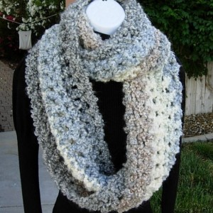 INFINITY SCARF Loop Cowl Light Grey Gray Cream White Tan Blue Large Thick Bulky Chunky Winter Handmade Crochet Knit..Ready to Ship in 2 Days