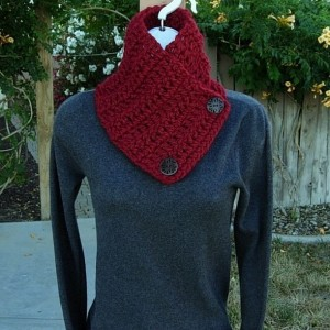 NECK WARMER SCARF Buttoned Cowl Solid Dark Deep Red, Large Wooden Buttons Extra Soft Crochet Knit Winter Scarflette..Ready to Ship in 3 Days