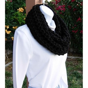 INFINITY SCARF Loop Cowl Solid Black 100%  Extra Soft Bulky Acrylic Handmade Thick Crochet Knit Winter Circle Wrap..Ready to Ship in 3 Days