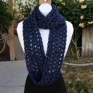 INFINITY SCARF Loop Cowl, Denim & Navy Dark Blue Twist, Bulky Soft Wool Acrylic Blend, Handmade Crochet Knit Winter Circle..Ready to Ship in 3 Days