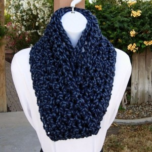 COWL SCARF Infinity Loop Denim & Navy Dark Blue Twist, Bulky Soft Wool Acrylic, Handmade Crochet Knit Winter Circle..Ready to Ship in 3 Days