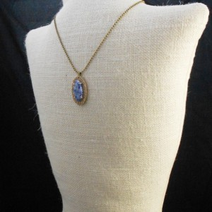 Handcrafted Sodalite and Bronze Metal Clay Pendant with Chain